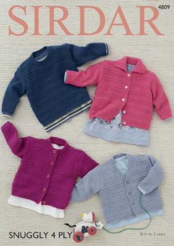 Baby Cardigans and Sweaters in Sirdar Snuggly 4ply 4809